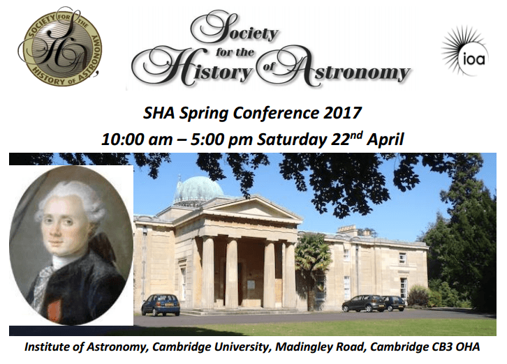 Society for the History of Astronomy Spring Conference, Cambridge